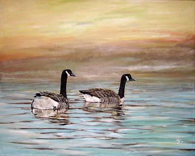 Canadian Geese Painting - Home by Arie Van der Wijst