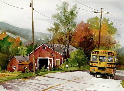 School Bus Painting - Home Bus by Art Scholz