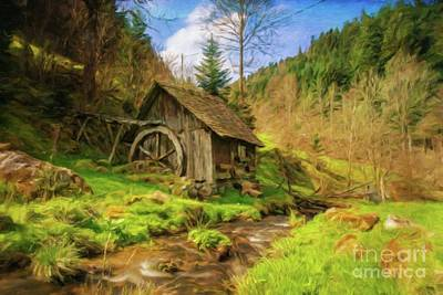 Log Cabin Art Painting - Home By Sarah Kirk by Sarah Kirk
