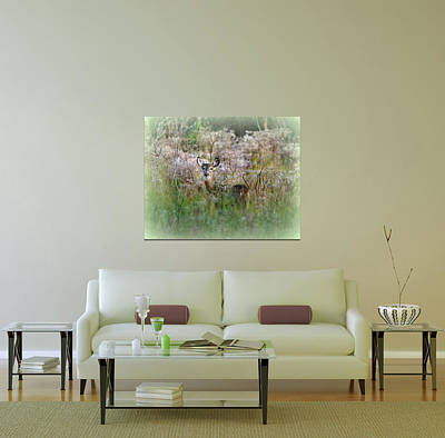Photograph - Home Decor With Doe In Fairytale Vegetation by Carla Parris