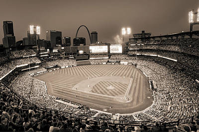 Photograph - Home Field Advantage - Saint Louis Busch Stadium - Vintage Sepia by Gregory Ballos