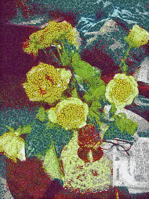 Pointillist Digital Art - Home Flowers by Mario Carini