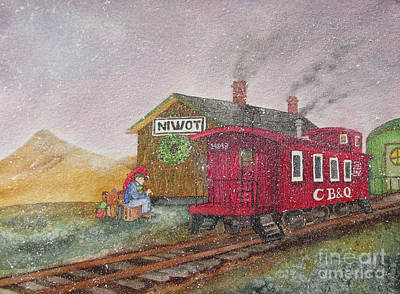 Old Caboose Painting - Home For Christmas by Donlyn Arbuthnot