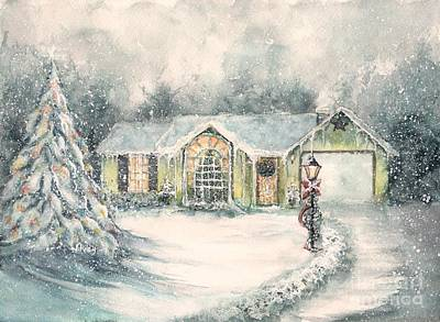 Winter Scenes Painting - Home For Christmas by Janine Riley