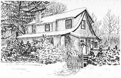 Snowscape Drawing - Home For The Holidays by Janice Petrella-Walsh
