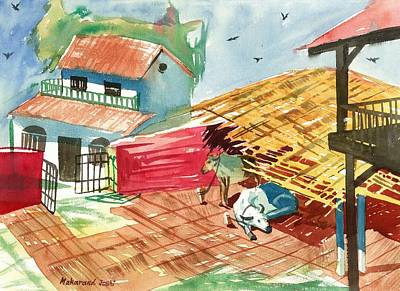 Maharashtra Painting - A Back Yard With A Cow Shade And A Cow And A Calf  by Makarand Joshi