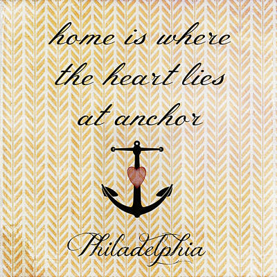 Mixed Media Royalty Free Images - Home is Philadelphia Anchor 2 Royalty-Free Image by Brandi Fitzgerald
