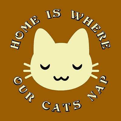 Catnap Digital Art - Home Is Where Our Cats Nap by David G Paul