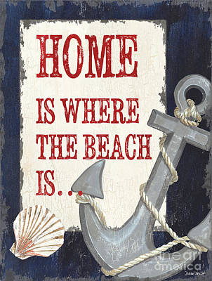 Coastal Quote Wall Art - Painting - Home Is Where The Beach Is by Debbie DeWitt