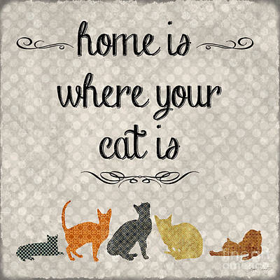Cats Painting - Home Is Where Your Cat Is-jp3040 by Jean Plout