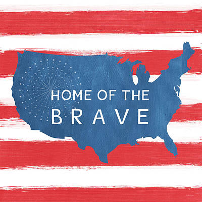 Map Painting - Home Of The Brave by Linda Woods
