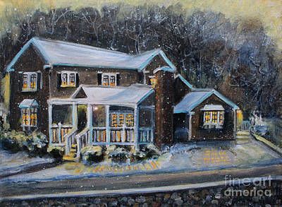 Painting - Home On A Snowy Eve by Rita Brown