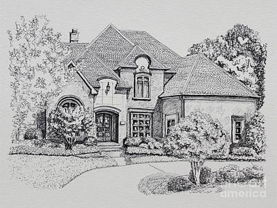 Work Place Drawing - Home Portrait 2037 by Robert Yaeger