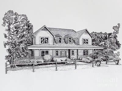 Work Place Drawing - Summer Villa 2015 by Robert Yaeger