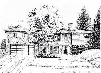 Drawing - Home Portrait by Dale Turner