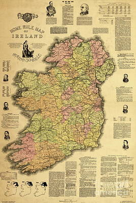 Historic Home Drawing - Home Rule Map Of Ireland, 1893 by Irish School