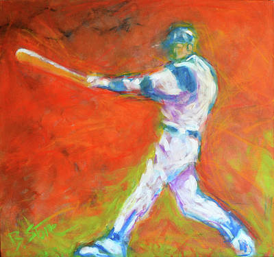 Abstract Baseball Painting - Home Run by Brian Stone