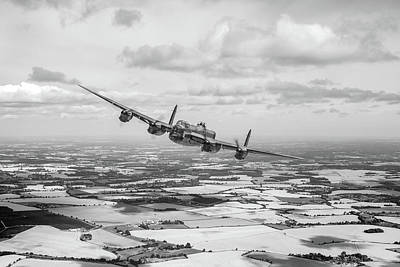 Photograph - Home Stretch Lancaster Over England Bw Version by Gary Eason