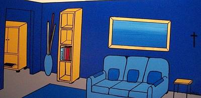 Bookshelf Painting - Home Sweet Home - The Blue Room by Edmund Akers