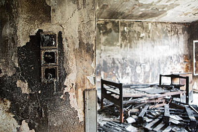 Retirement Home Photograph - Home Sweet Home Burned Down Room With Bed At Abandoned Nursing H by Dirk Ercken