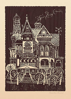 Blockprint Drawing - Home Sweet Home by Ernestine Grindal