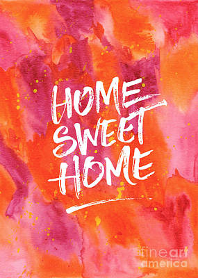 Painting - Home Sweet Home Handpainted Abstract Orange Pink Watercolor by Beverly Claire Kaiya