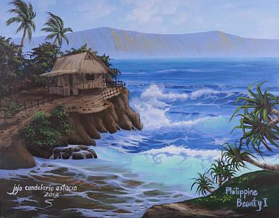 Nipa House Painting - Home Sweet Home by Jojo Candelario Estacio