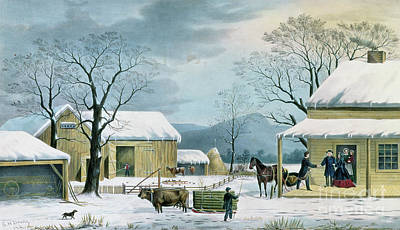 Wintry Drawing - Home To Thanksgiving by George Durrie