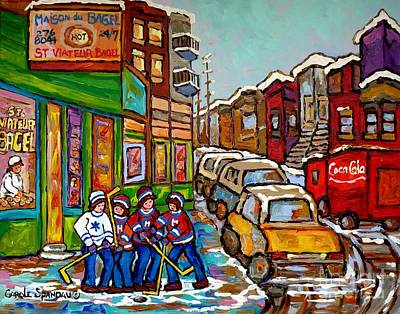 Hockey Art Boys Playing Hockey Painting - Home Town Painting St Viateur Bagel Street Scene Coca Cola Truck Montreal 375 Carole Spandau Art     by Carole Spandau