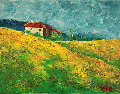 Tuscan Hills Painting - Home Under The Tuscan Sun by Ela Jamosmos