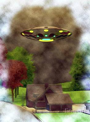 Science Fiction Paintings - Home Visit - UFO Invasion by Raphael Terra