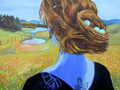 Painting - Home With Nest In Hair by Tilly Strauss