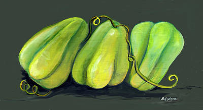 Cuisine Painting - Homegrown Mirlitons by Elaine Hodges