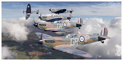 Stanford Wall Art - Digital Art - Battle Of Britain Homeland Formation - Robert Stanford Tuck, Supermarine Spitfire Mk I by Craig Tinder