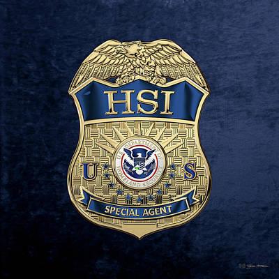 Digital Art - Homeland Security Investigations - H.s.i. Special Agent Badge Over Blue Velvet by Serge Averbukh