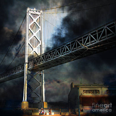 Bay Bridge Digital Art - Homeless By The Bay 7d7748 Square by Wingsdomain Art and Photography