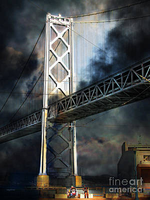 Bay Bridge Digital Art - Homeless By The Bay 7d7748 Vertical by Wingsdomain Art and Photography