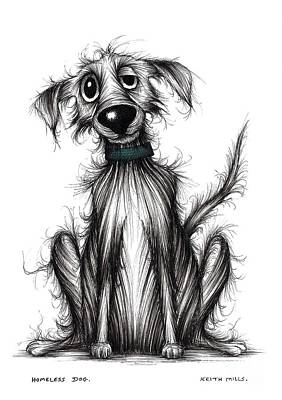 Homeless Pets Drawing - Homeless Dog by Keith Mills