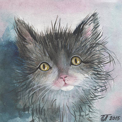 Homeless Pets Painting - Homeless Kitten. Alone Young Cute Cat. by Elena Pavlova
