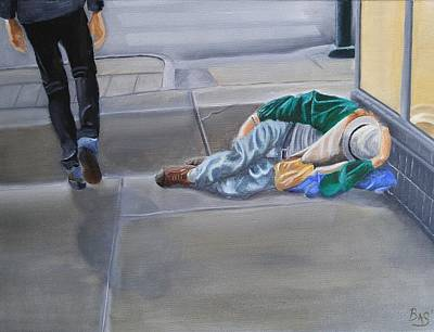 Painting - Homeless On Broadway by Bas Hollander