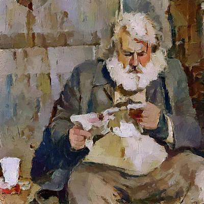 Digital Art - homeless reading near Cologne Dome by Yury Malkov