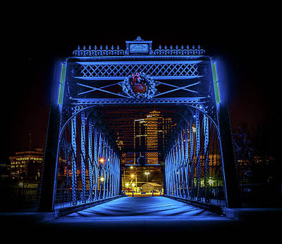 Photograph - Homeless Winter Night On Wells Street Bridge - Fort Wayne Indiana by Productions by JPM Media