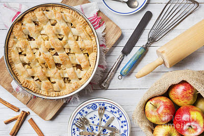Photograph - Homemade Apple Pie And Ingredients On A Rustic Table by Sara Winter