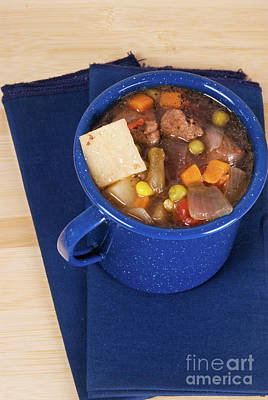 Photograph - Homemade Beef Soup In A Blue Tin Cup by Vizual Studio