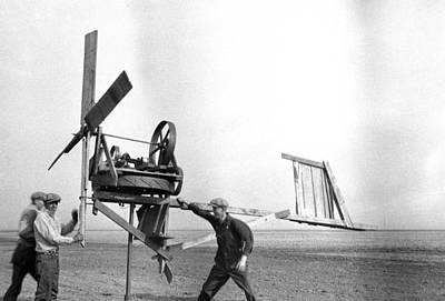Homemade Wind Powered Electricity Generator 1920's Art Print by Donald  Erickson