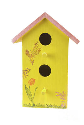 Photograph - Homemade Yellow Birdhouse With A Pink Colored Roof by Vizual Studio