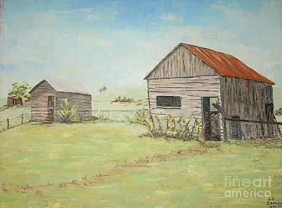 Homeplace - The Smokehouse And Woodhouse Art Print by Judith Espinoza