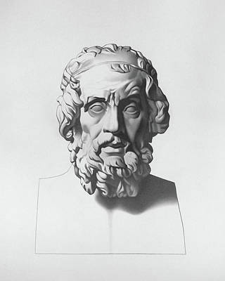 Plato Drawing - Homer After Charles Bargue by Nicole Daniah Sidonie