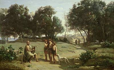 Dog In Landscape Painting - Homer And The Shepherds In A Landscape by Jean Baptiste Camille Corot
