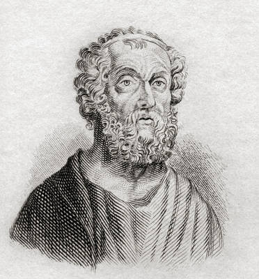 Epic Drawing - Homer. Greek Epic Poet. From Crabb S by Vintage Design Pics